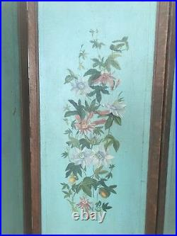Antique Vintage Victorian Screen Hand Painted Excellent Condition Wood Canvas
