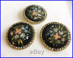 Antique Vintage Victorian Set Of 3 Hand Painted Enamel Buttons With Cut Steel