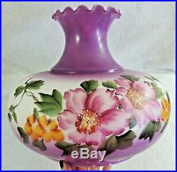 Antique/Vtg 3 Way Hand Painted PURPLE Flower Gone With The Wind GWTW Table Lamp