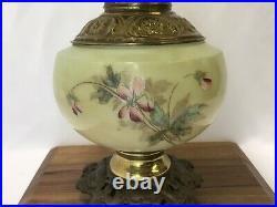 Antique Vtg Glass Parlor Lamp Hand Painted Pansies Banquet Oil Hurricane GWTW