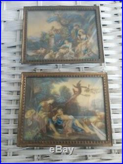 Antique Vtg Miniature french victorian Frames Cherub Hand Painted Signed boucher