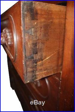 Antique Walnut American Victorian Eastlake Dresser, Hand-Carved Fruit Handles