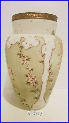 Antique Wave Crest Hand Painted Chrysanthemums Vase C. F. Monroe Gilded Rim