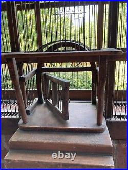 Antique Wooden Bird Cage Victorian Dome Mahogany Hand Crafted 27L x 35H