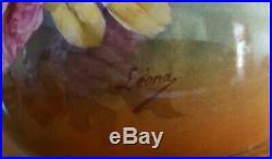 Antique c1900 JEAN POUYAT Limoges HAND PAINTED Squat Vase Signed Leona