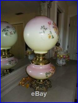 Antique electrified GWTW parlor HURRICANE OIL LAMP hand painted PG CO 21 tall