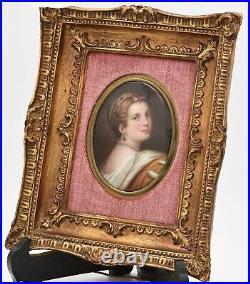 Antique framed hand painted KPM porcelain plaque of Lucretia Borgia