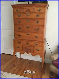 Antique furniture hand crafted tiger maple highboy chest by Eldred Wheeler
