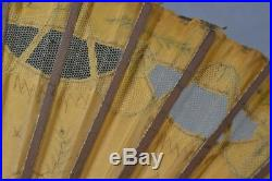 Antique hand fan painted portraits lace silk gold thread early 18th 19th c rare