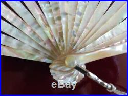 Antique lace hand fan ventaglio, crown of count mother of pearl needlepoint lace
