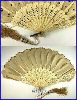 Antique mid Victorian Bone, Silk and Sequin Hand Fan, Jenny Lind Fashion, c. 1860