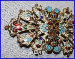 Antique ornate Victorian 1800's hand made enameled gold gilt 2 piece belt buckle