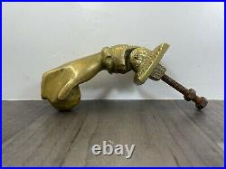 Authentic Antique Heavy Solid Brass Door Knocker Lady Hand Holding Ball