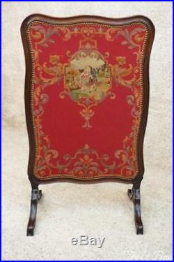 Authentic Victorian Era Fireplace Screen Needlepoint Scene Hand Carved Mahogany
