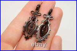 BEAUTIFUL ANTIQUE VICTORIAN HAND CARVED NATURAL SHELL DROP EARRINGS c1880