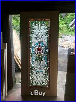 BEAUTIFUL HAND MADE STAINED GLASS VICTORIAN STYLE ENTRY DOOR JHl2147-78L