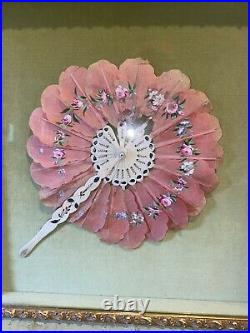 Beautiful ANTIQUE VICTORIAN Pink Silk Hand Painted Hand FAN SHADOW BOX
