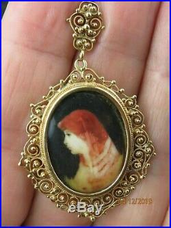 Beautiful ANTIQUE Victorian 18K 750 Gold Filigree hand painted Portrait pendant