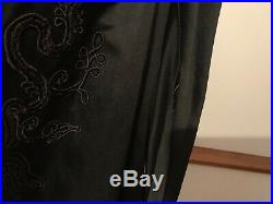 Beautiful Antique Hand Embroidered Victorian Black Satin Lined Jacket Coat 12-14