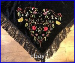 Beautiful Antique Victorian Hand Embroidered Black Velvet Shawl VGC