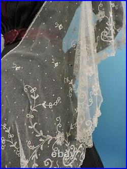 Beautiful Antique Victorian Hand Made Tambour Lace Skirt Flounce For Dress