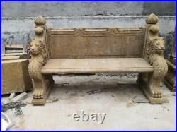 Beautiful Hand Carved Antique Stone Victorian Style Estate Garden Bench Mb53