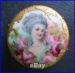 Beautiful Victorian Hand Painted Woman & Roses Porcelain Brooch Pin Antique
