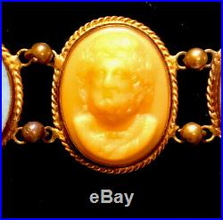 Beautiful Victorian Lava Hand Carved Cameo Bracelet Vintage Antique Jewellery