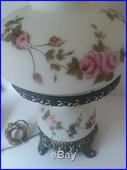 Beautiful White Floral Roses Hand Painted 3 Way Vintage GWTW Table Lamp