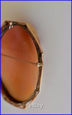 Big Antique Victorian 14K Gold Hand-Carved Cameo Pin Pendant Goddess Flora