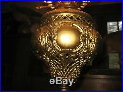 Bradley Hubbard Exquisite Cast Iron Brass Floor Table Oil Lamp Hand Painted GWTW