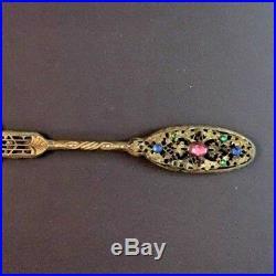 C1880 Ormolu Filigree Bronze & Jeweled Hand Mirror