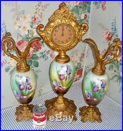 C. 1890 Victorian Clock & Ewers, Mantel Garniture, Hand-Painted IRISES, Antique
