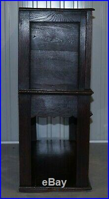 Circa 1700 English Oak Hand Carved Gothic Jacobean Style Large Cupboard Bureau