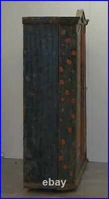 Circa 1808 Sumlime Hand Painted French Wardrobe Or Hall Cupboard In Oak Wood