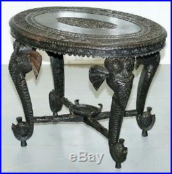 Circa 1900 Anglo Indian Elephant & Buddha Hand Carved Rosewood Coffee Side Table
