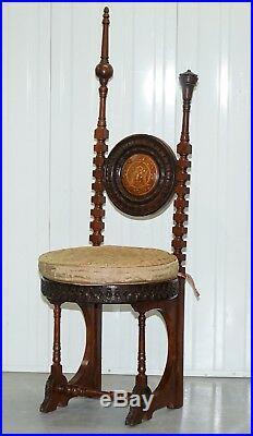 Circa 1900 Carlo Bugatti Throne Chair Solid Hardwood Hand Carved Wood Rare Find