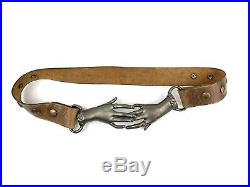 Clasping Hands Belt With Buckle Brass Vintage Victorian With leather Belt