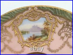 Coalport Pink and Gold Cup & Saucer Hand Painted Raised Paste withScenic Panels
