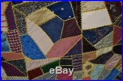 Crazy quilt silk hand made 57 x 64 lace edge Victorian antique original 1890