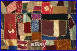 ELEGANT Vintage 1890's Victorian Silk Crazy Antique Quilt Hand Painted Blocks
