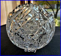 EXQUISITE Vintage Deep Hand Cut Brilliant Glass Crystal OVAL Bowl GORGEOUS