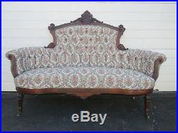 Early 1880s Eastlake Victorian Walnut Hand Carved Sofa Couch 8930
