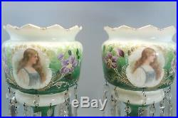 Early Large Victorian Antique 14 Mantle Lusters Hand Painted