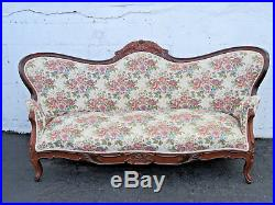 Early Victorian 1880s Hand Carved Rosewood Sofa Couch 8807