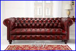Edwardian Chesterfield sofa hand made couch oxblood red