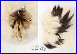 Edwardian Victorian Winter White Ermine Fur Tail Hand Warmer Muff, Early 1900's