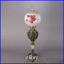 Electrified Hand Painted Brass & Onyx Gone-With-The-Wind Lamp, 19th Century