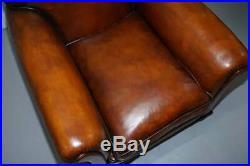 English Fully Restored Hand Dyed Victorian Whisky Brown Leather Armchairs Pair