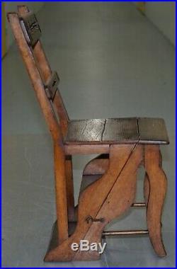 English Oak Library Chair Metamorphic Steps Circa 1890 Arts & Crafts Hand Made